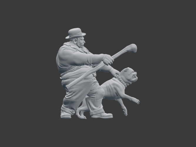 Victorian Tough with dog 3D Print 220841