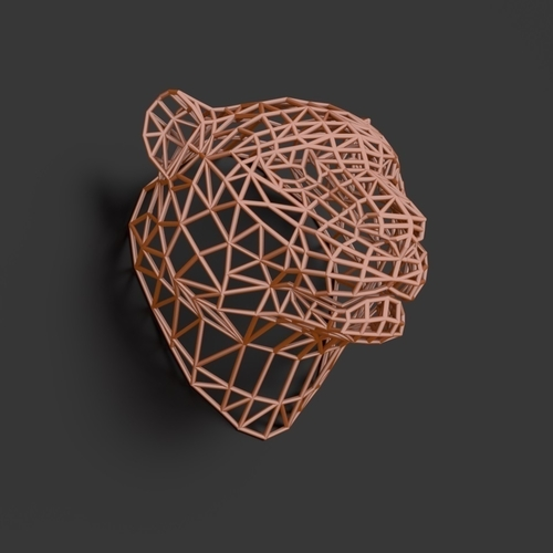 Tiger Head WireFrame Low Poly 3D Print 220989