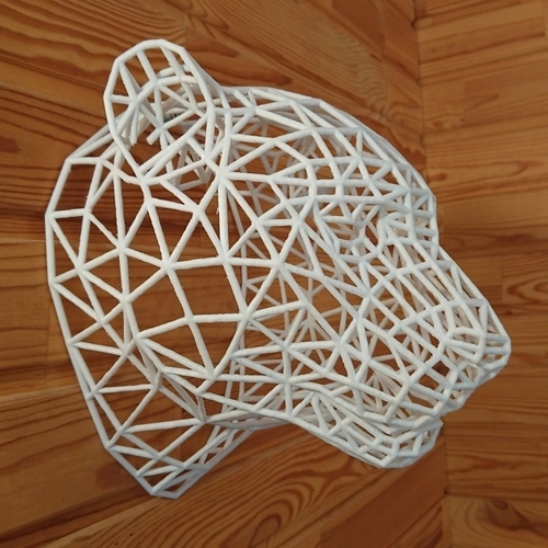 Tiger Head WireFrame Low Poly 3D Print 220990