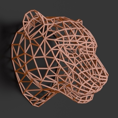 Tiger Head WireFrame Low Poly 3D Print 220991