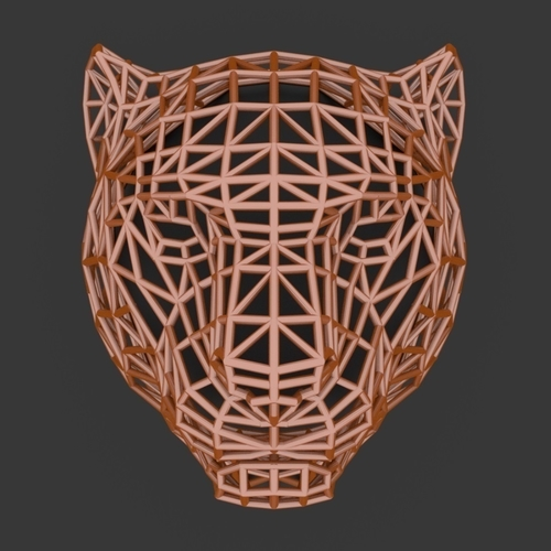 Tiger Head WireFrame Low Poly 3D Print 220993