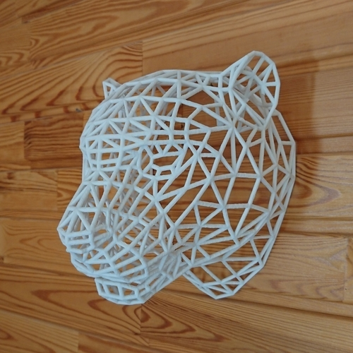 Tiger Head WireFrame Low Poly 3D Print 220994