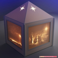 Small Christmas lantern with lithopanes - (for electric light sources) 3D Printing 221328