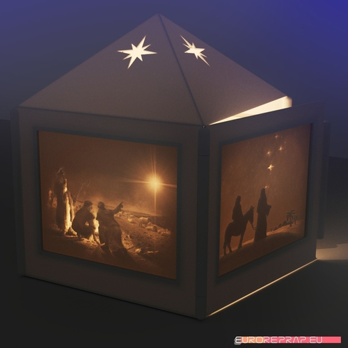 Christmas lantern with lithopanes - (for electric light sources) 3D Print 221330