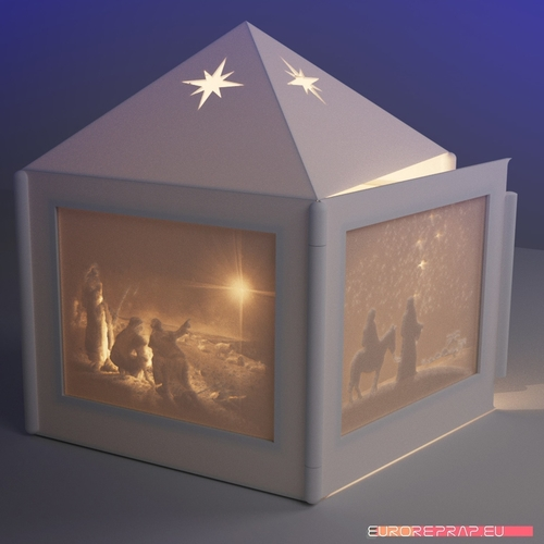 Christmas lantern with lithopanes - (for electric light sources) 3D Print 221331
