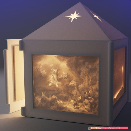 Christmas lantern with lithopanes - (for electric light sources) 3D Print 221332