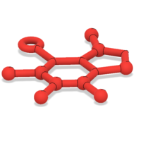 Small Free Caffeine Molecule Ornament 3D Printing 221842