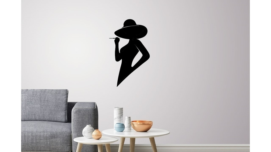 Silhouette lady profile wall Art 3D Print 223514