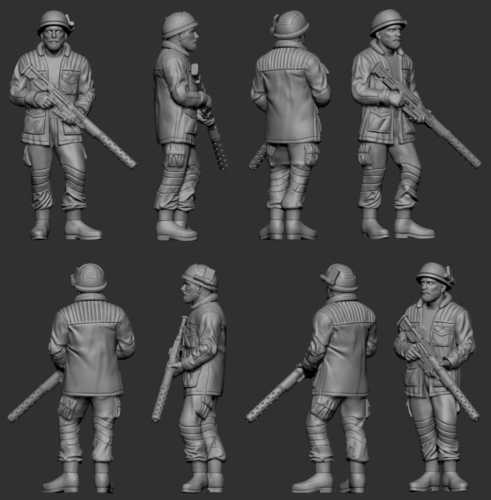hf wargaming Miltia Upright with helmet 3D Print 223605
