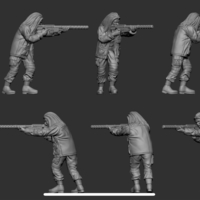 Small hf wargaming Miltia attacking no helmet 3D Printing 223607