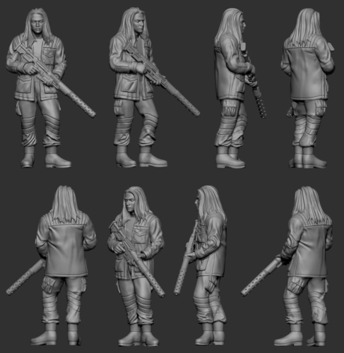 hf wargaming Miltia Upright no helmet 3D Print 223609
