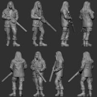 Small hf wargaming Miltia Upright no helmet 3D Printing 223609