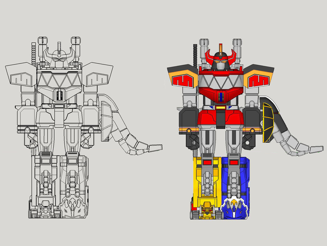 ARTICULATED POWER ROBOT NOT DINO MEGAZORD NO SUPPORT 3D Print 223917
