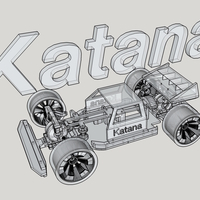 Small Katana Rc car 1:10 On/Off Road 3D Printing 22443