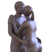 Small Couple Kissing 3D Printing 224518