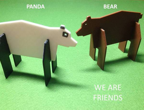 Medium Simple animals 6 - Bear & Panda 3D Printing 22455