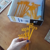 Small 2019 New Years Party Picks and Swizzle Sticks 3D Printing 224914