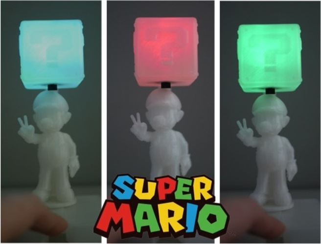 Super Mario with shining question box 3D Print 22511