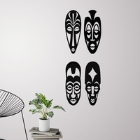 Small African masks  for wall decoration - set of 4 masks 3D Printing 226732