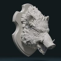 Small Wild Boar Mounted Head 3D Printing 226995