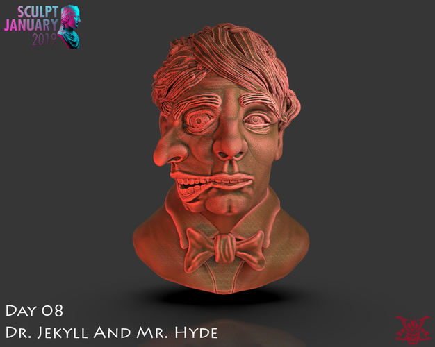 Bust of Dr Jekyll and Mr Hyde 3D Print 227375