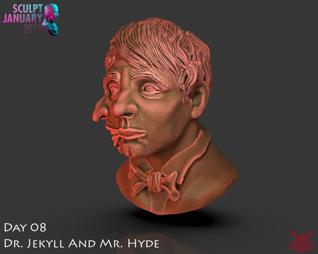 Bust of Dr Jekyll and Mr Hyde 3D Print 227376