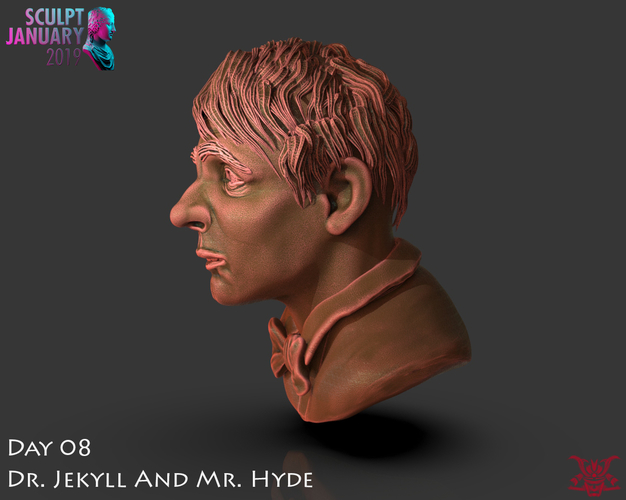 Bust of Dr Jekyll and Mr Hyde 3D Print 227377