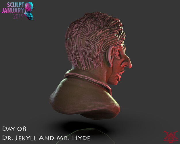 Bust of Dr Jekyll and Mr Hyde 3D Print 227380