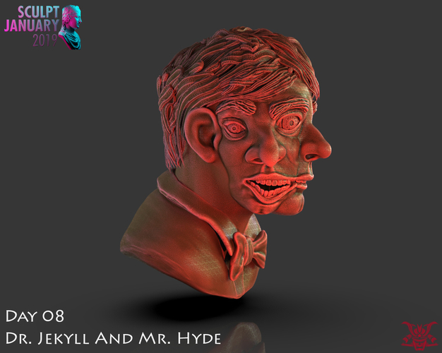 Bust of Dr Jekyll and Mr Hyde 3D Print 227381