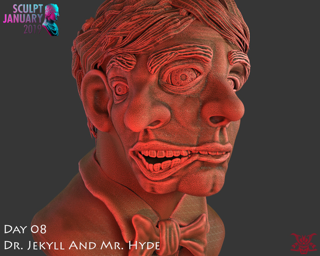 Bust of Dr Jekyll and Mr Hyde 3D Print 227382