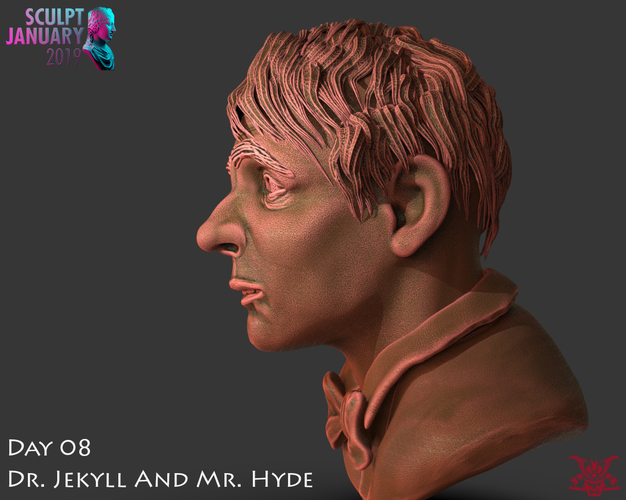 Bust of Dr Jekyll and Mr Hyde 3D Print 227383