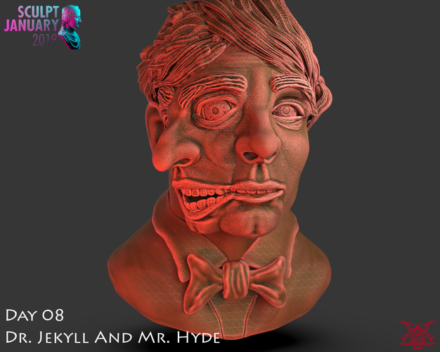 Bust of Dr Jekyll and Mr Hyde 3D Print 227384