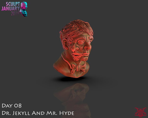 Bust of Dr Jekyll and Mr Hyde 3D Print 227385