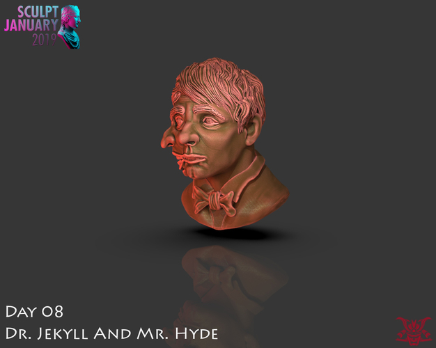 Bust of Dr Jekyll and Mr Hyde 3D Print 227386