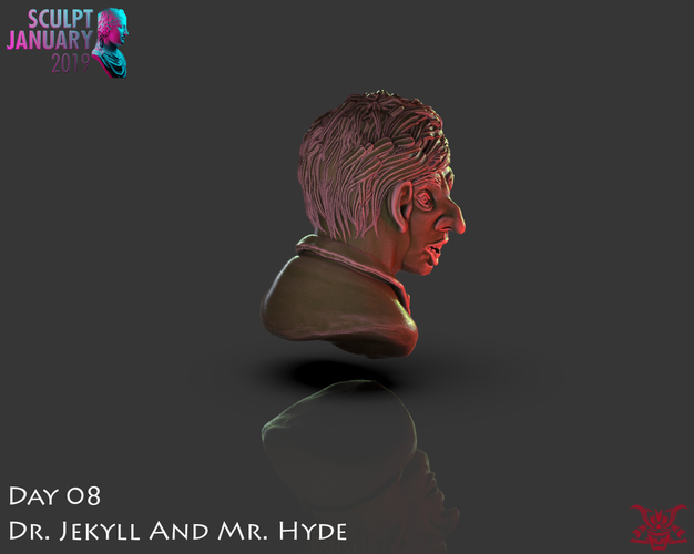 Bust of Dr Jekyll and Mr Hyde 3D Print 227387