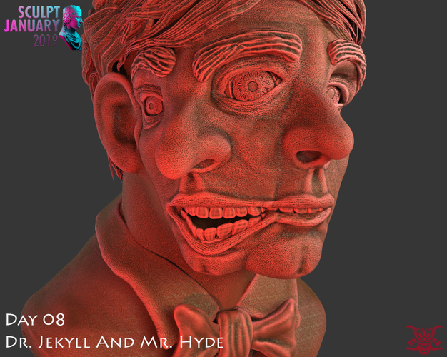 Bust of Dr Jekyll and Mr Hyde 3D Print 227388
