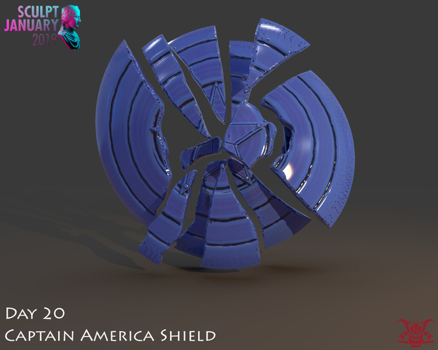 Captain America Shield 3 Versions 3D Print 228142