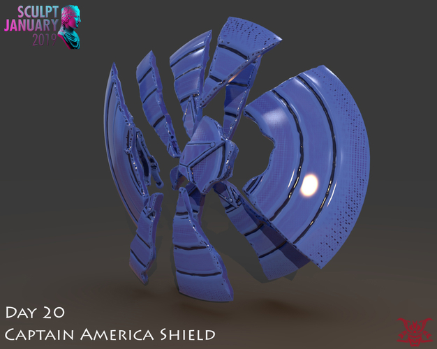 Captain America Shield 3 Versions 3D Print 228149