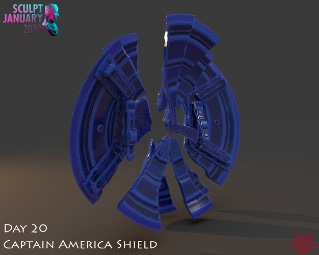 Captain America Shield 3 Versions 3D Print 228150