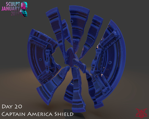 Captain America Shield 3 Versions 3D Print 228151