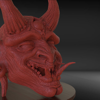 Small Japanese Oni Mask or Demon Mask 3D Printing 228813