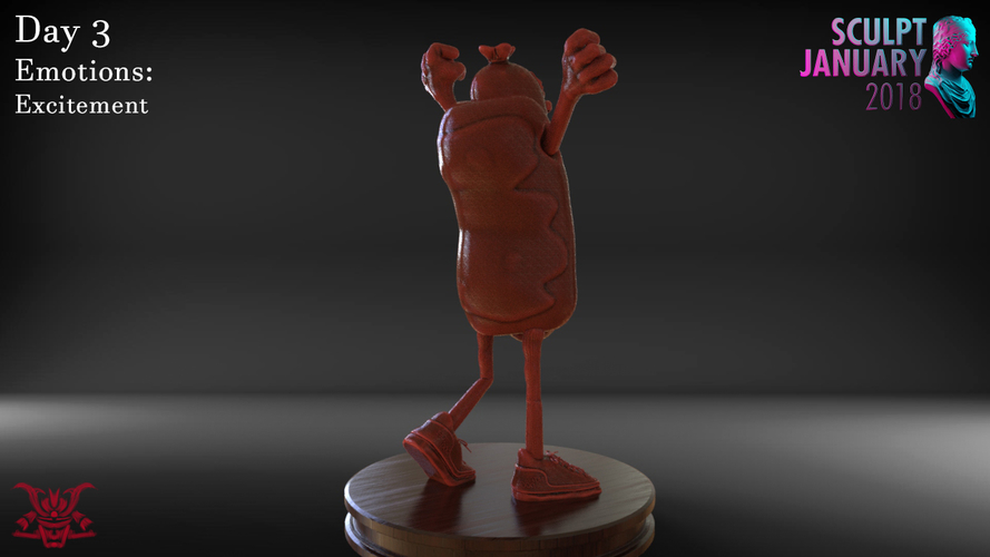 Excited Hot Dog 3D Print 228870
