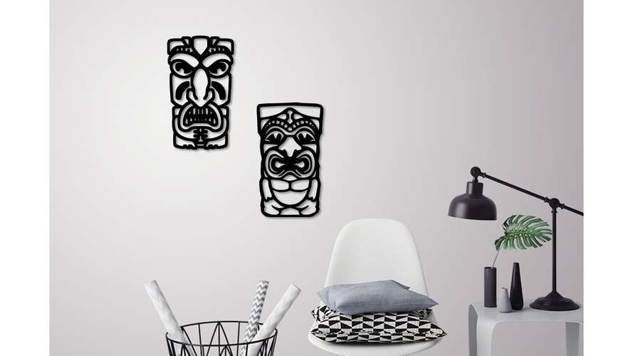 African mask wall decoration  2 Masks  3D Print 229224