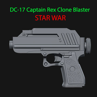 Small DC-17 Captain Rex Clone Blaster for cosplay - from Star war 3D Printing 229243