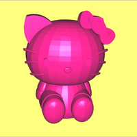 Small Hello Kitty Bright Pink 3D Printing 22960