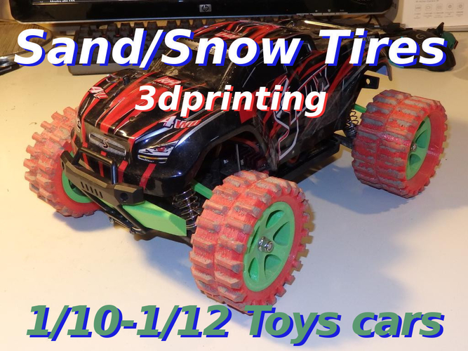 Sand/Snow Tires for 1/10-1/12 rc toys cars    3D Print 230033