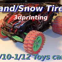 Small Sand/Snow Tires for 1/10-1/12 rc toys cars    3D Printing 230033