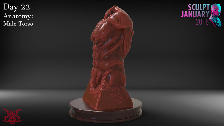 Male Torso Sculpture 3D Print 230189