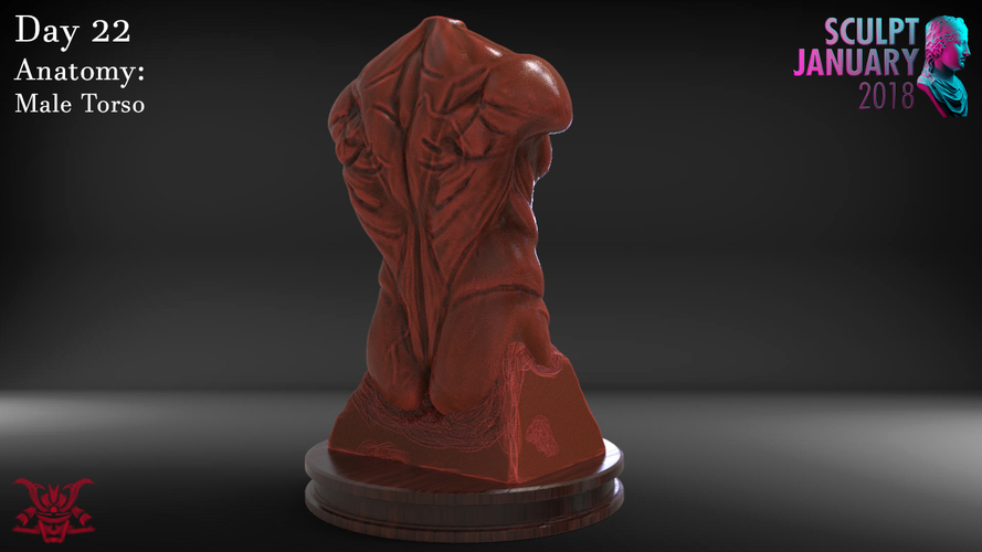 Male Torso Sculpture 3D Print 230190