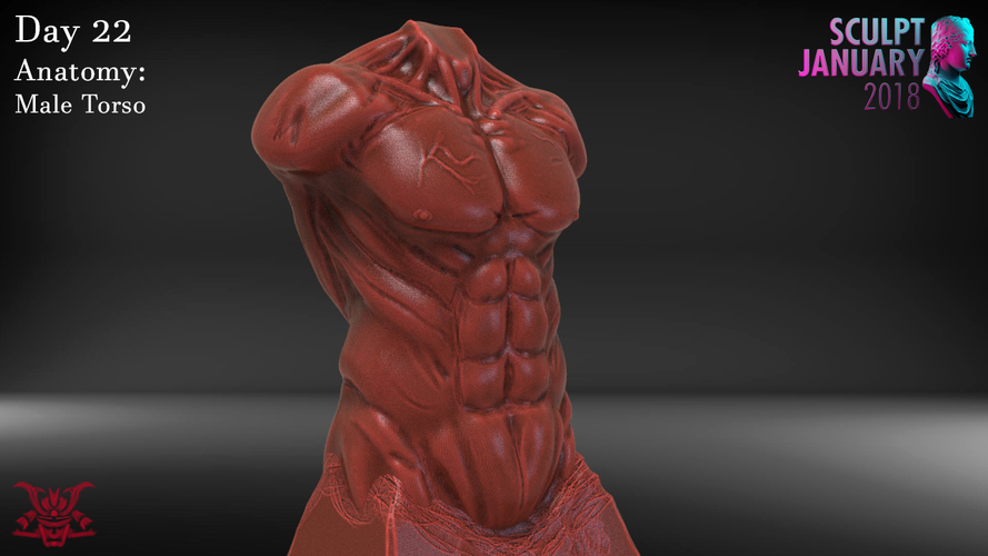 Male Torso Sculpture 3D Print 230191